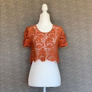 🧡✨💫Burnt Orange Lace Crop Top💫✨🧡